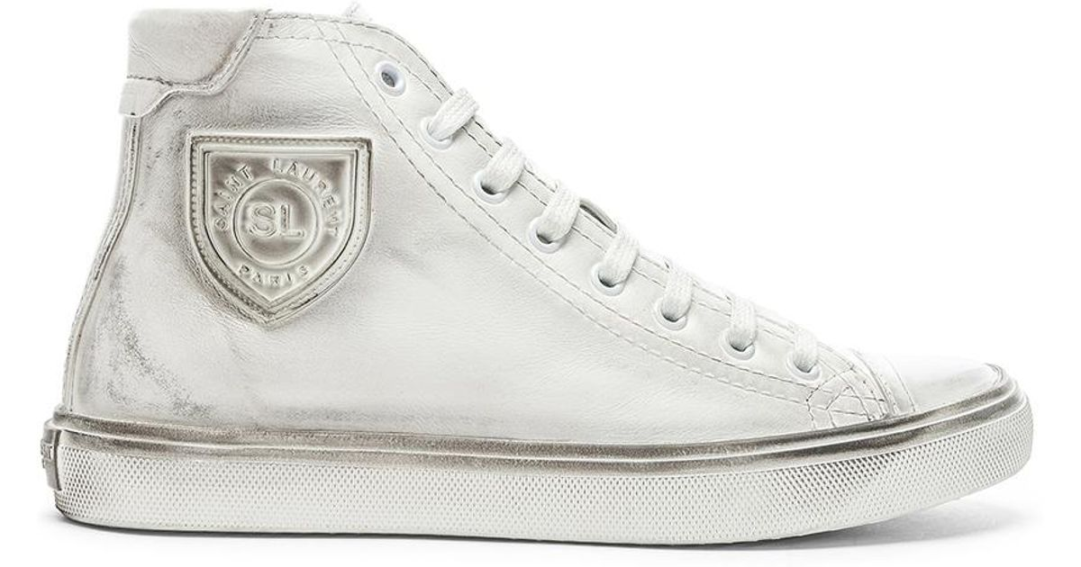 7d437ea7b96 Saint Laurent High Top Bedford Sneakers in White - Lyst