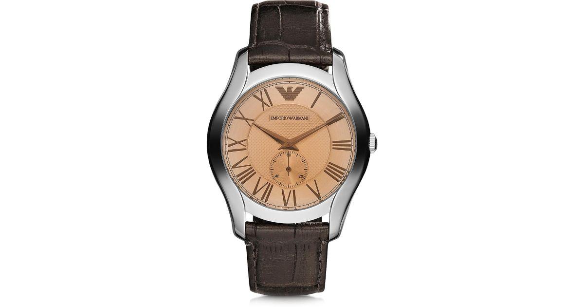b210c7e97cb6 Reloj para Hombre de Acero y Correa de Cuero Emporio Armani de hombre de  color Metálico - Lyst