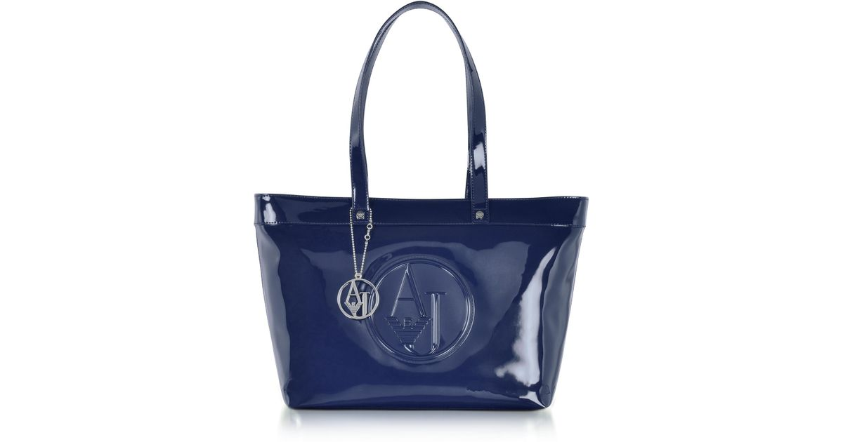 Lyst - Armani Jeans Midnight Blue Eco Patent Leather Large Tote Bag in Blue 4f2e897567c9a