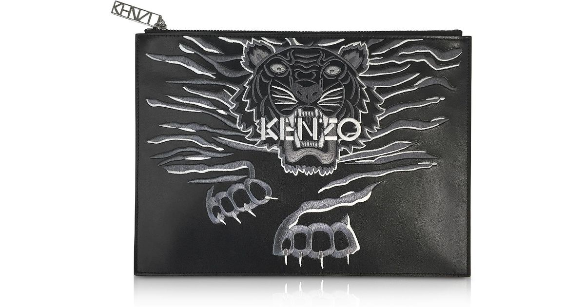 e2b8ffb98b4 Lyst - Black Leather A4 Geo Tiger Clutch KENZO en coloris Noir
