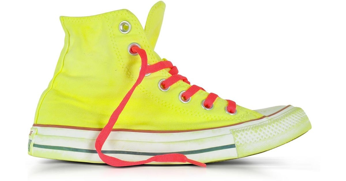 f00b7c155213 Lyst - Converse Chuck Taylor All Star Hi Neon Yellow Canvas Ltd Sneakers in  Yellow