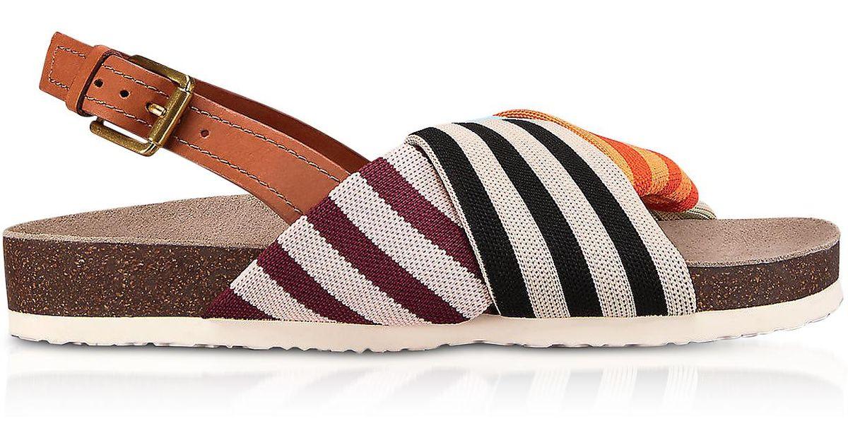 afb97523a4f Lyst - Tory Burch Corey Multi Patchwork Stripe Tech Knit Fabric And Leather  Flatform Sandals in Orange