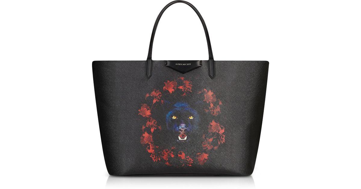 Lyst - Givenchy Black Jaguar Printed Leather Antigona Shopping Bag in Black ca4df98ec0f2f