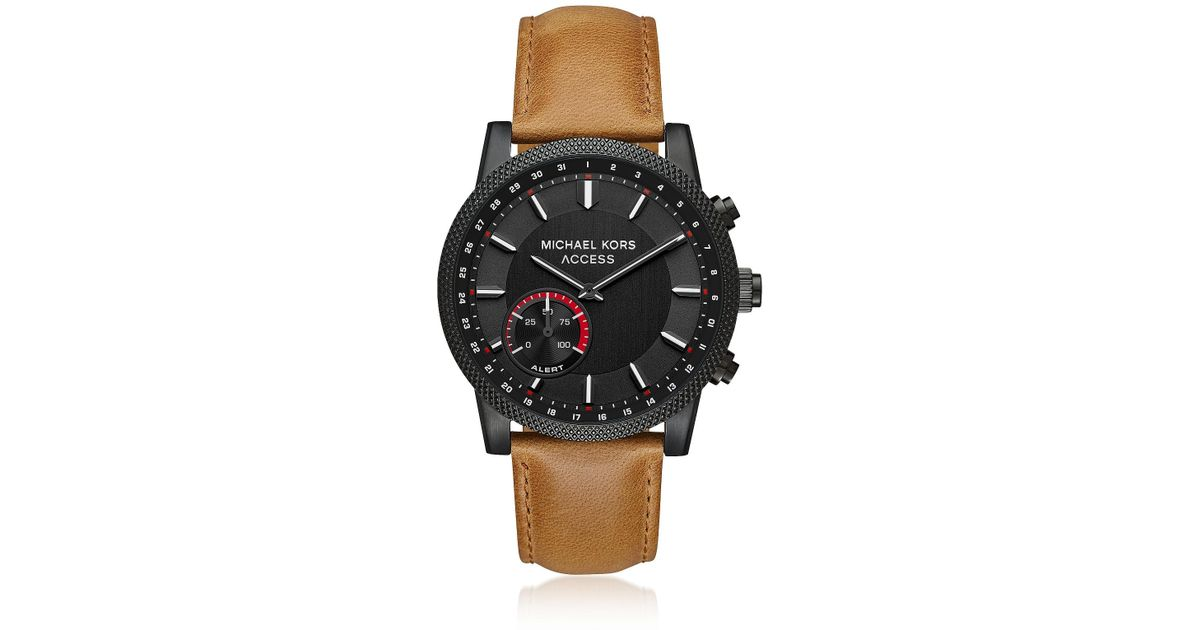 50819397febb Lyst - Michael Kors Access Men s Scout Black Ip And Brown Leather Hybrid  Smartwatch in Black for Men