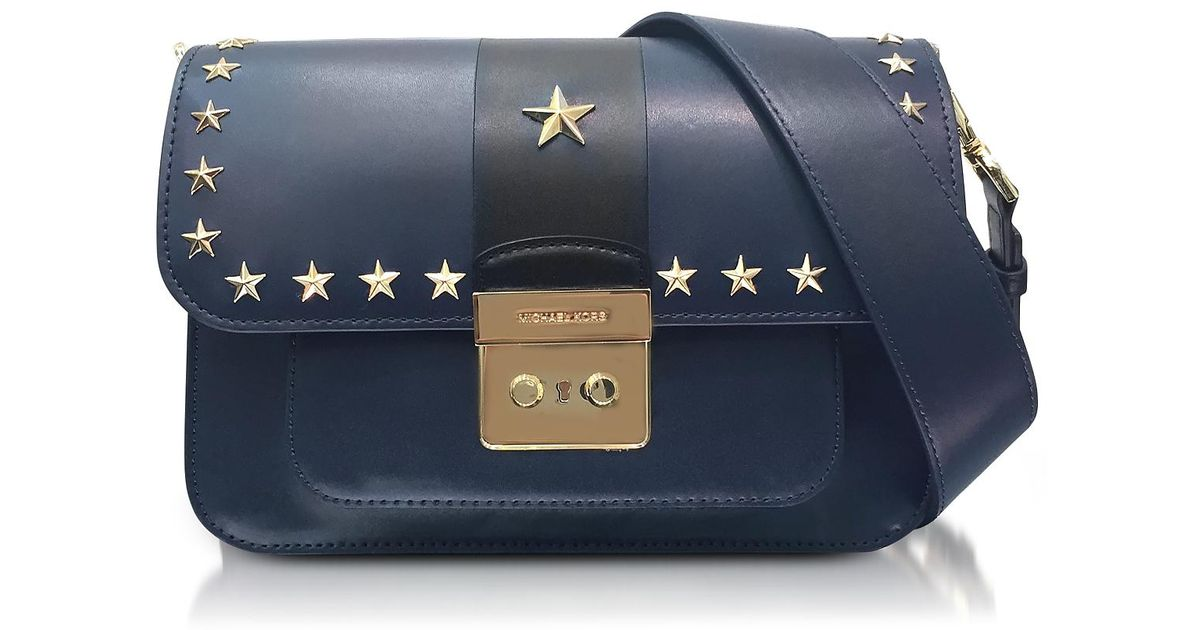 0f0c0f2990f5ba Michael Kors Sloan Editor Large Admiral And Black Leather Shoulder Bag  W/stars in Blue - Lyst