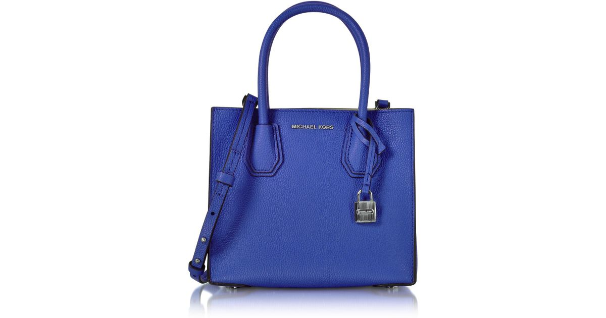 001b3a2a3cb8 Michael Kors Mercer Medium Electric Blue Pebble Leather Crossbody Bag in  Blue - Lyst