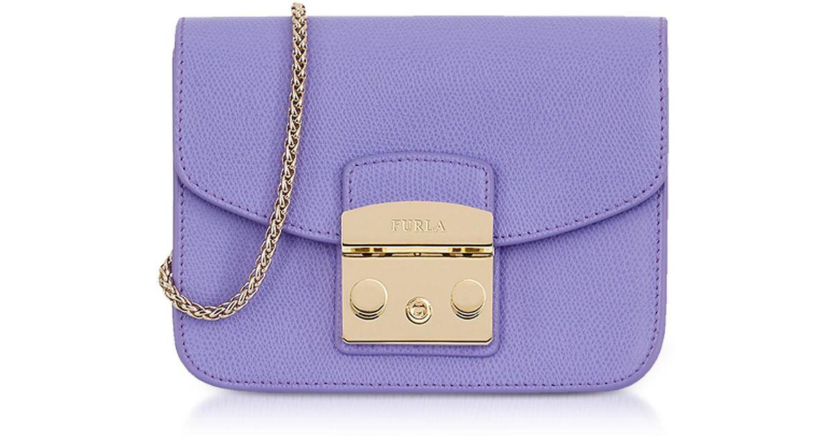 Furla - Purple Giglio Leather Metropolis Mini Crossbody Bag - Lyst