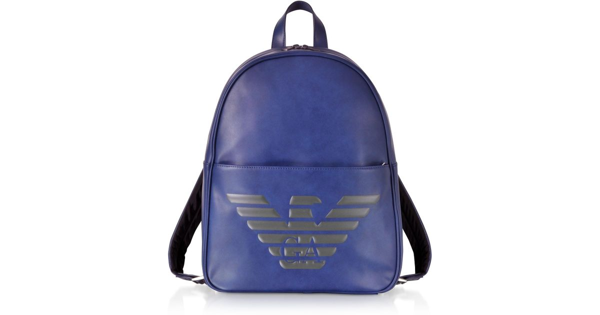 d230875b33cb Lyst - Emporio Armani Blue Eagle Embossed Eco Leather Men s Backpack in  Blue for Men