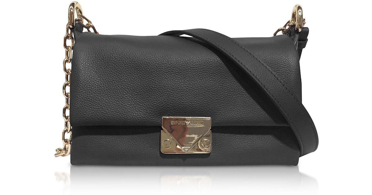 8be669542f9e Lyst - Emporio Armani Grainy Leather Small Shoulder Bag in Black