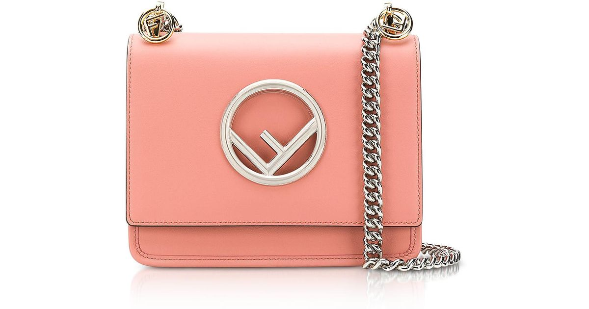 85b09c091130 Lyst - Fendi Kan I Small Century Calf Leather Shoulder Bag in Pink