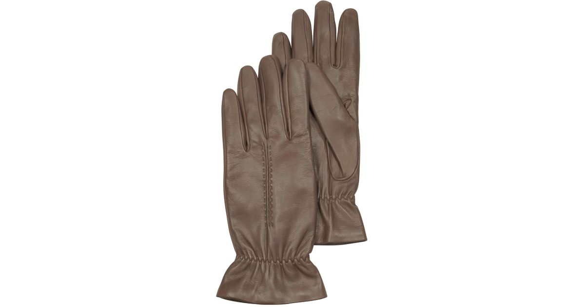 53dbe0dd79b0 Forzieri Taupe Leather Women s Gloves W wool Lining in Brown - Lyst