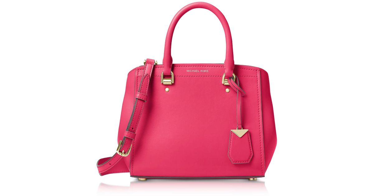 0c9885c3cf76f Lyst - Michael Kors Benning Medium Leather Satchel in Pink