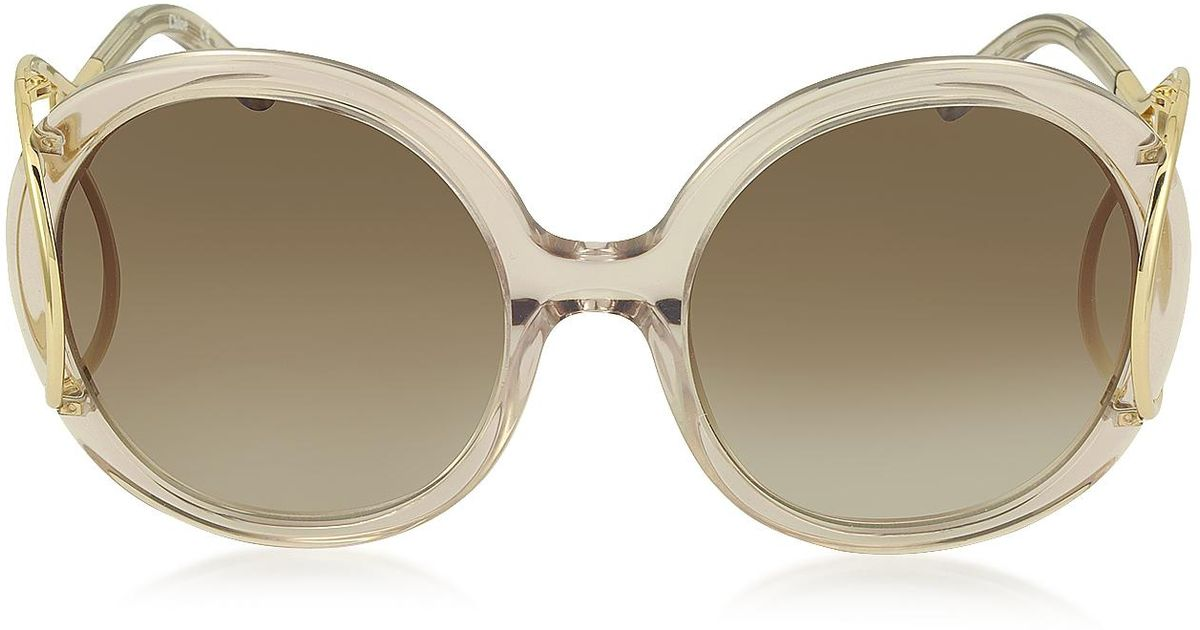 e44e6efa140 Lyst - Chloé Jackson Ce 703s Large Round Acetate And Metal Women s  Sunglasses in Pink
