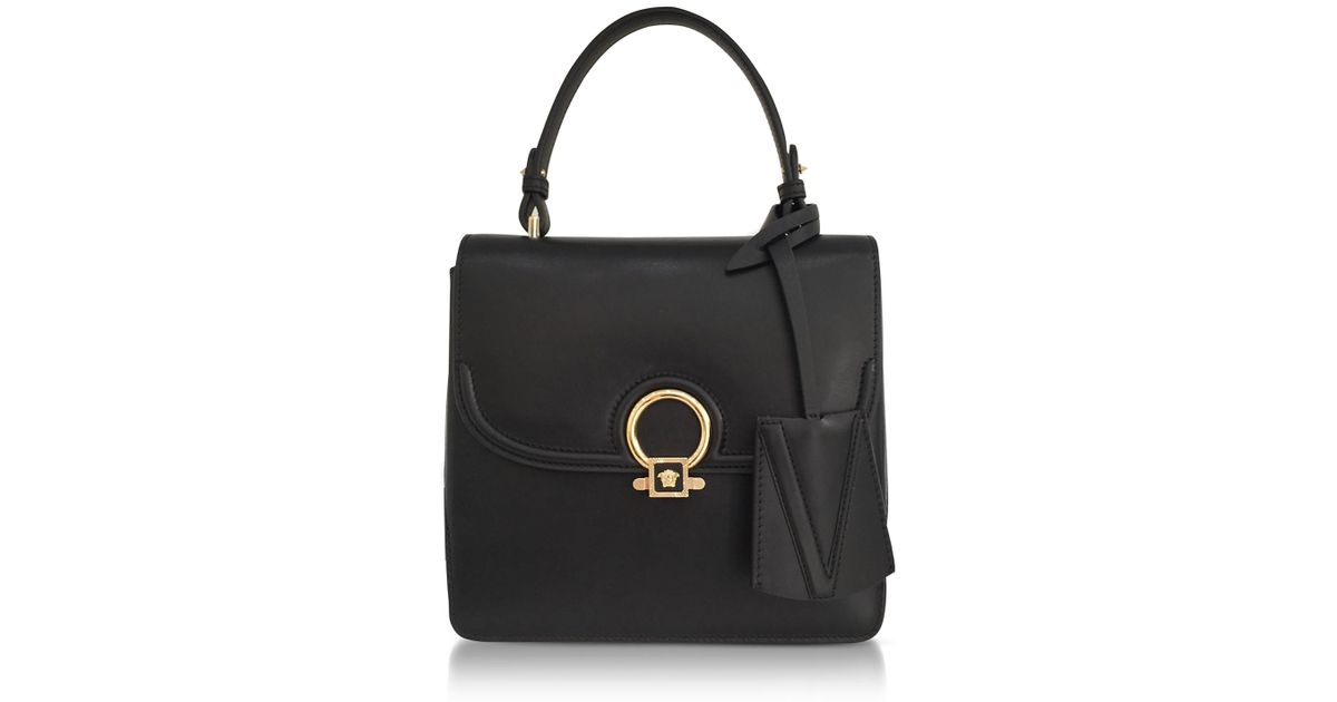 cc5237936cfe Lyst - Versace Dv One Black Leather Medium Shoulder Bag W fully Charged  Suede Lateral Gussets in Black