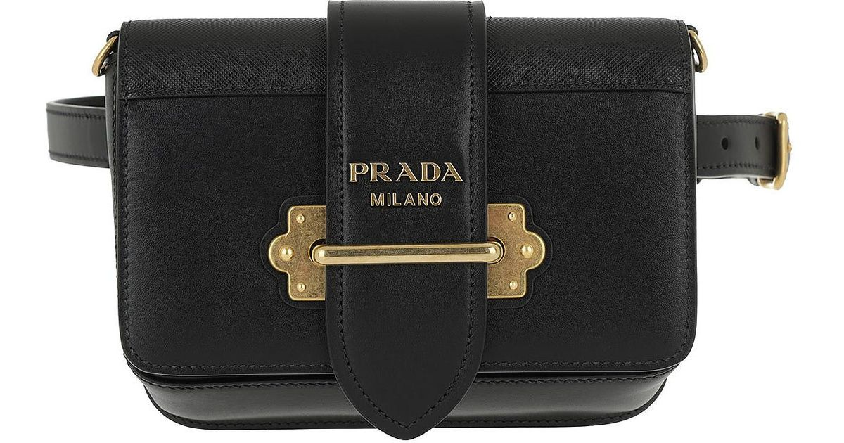 Lyst - Prada Cahier Studded Belt Bag Leather Black in Black 191cadd50e200