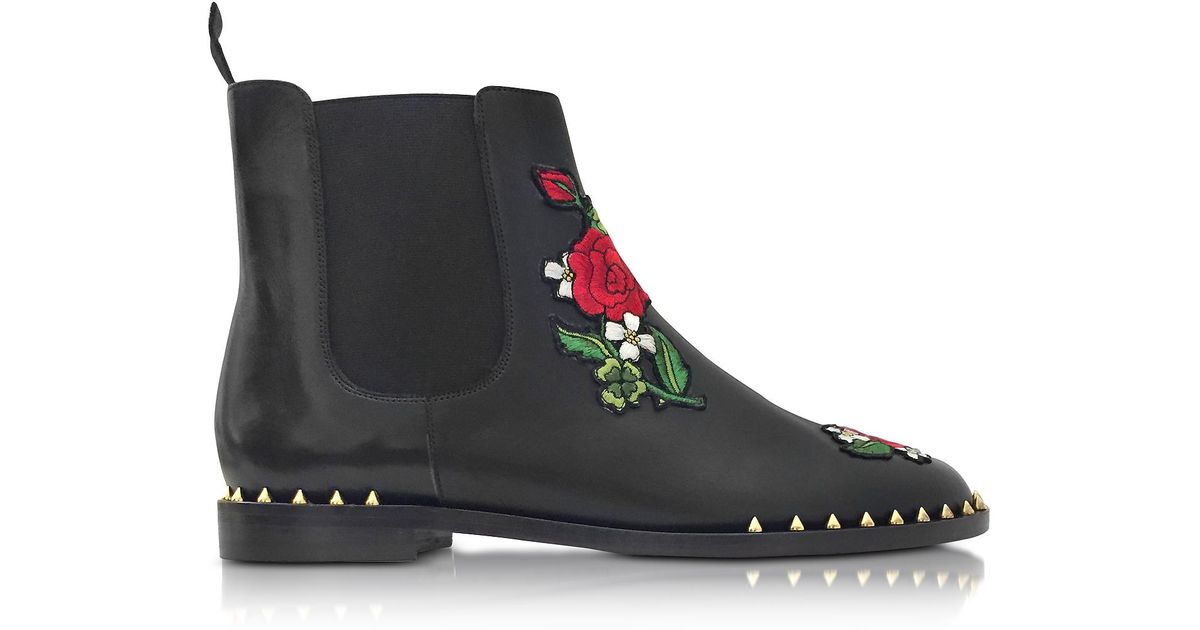0a7150a1c Lyst - Charlotte Olympia Chelsea Black Leather Floral Embroidery Ankle Boot  in Black
