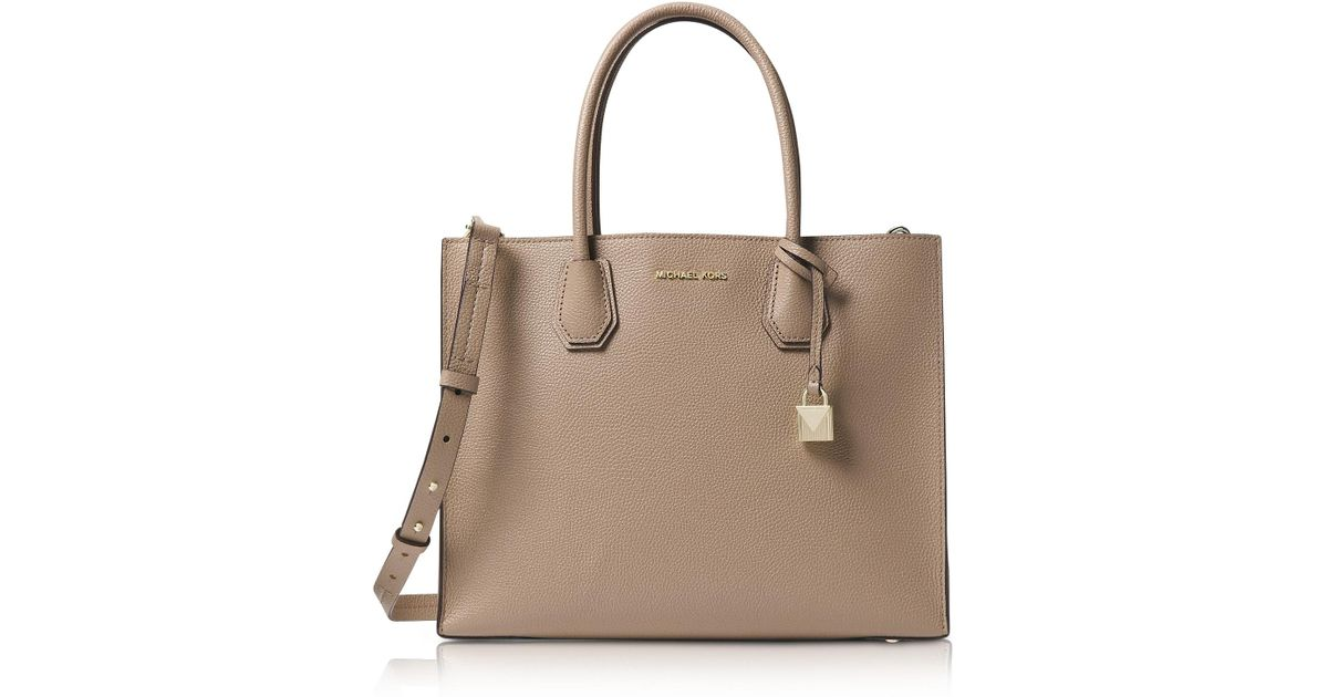 76856a4356e68 Michael Kors Truffle Mercer Large Convertible Tote Bag in Natural - Save  32% - Lyst