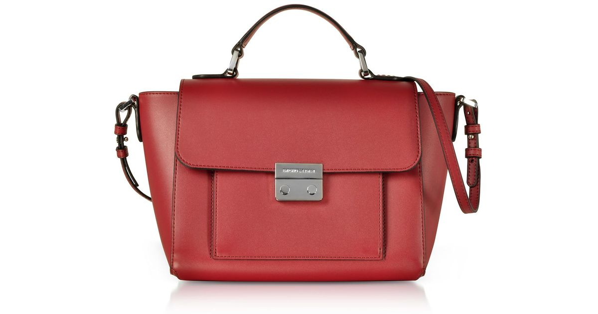 9e779cb064e9 Lyst - Emporio Armani Smooth Leather Top-handle Shoulder Bag in Red
