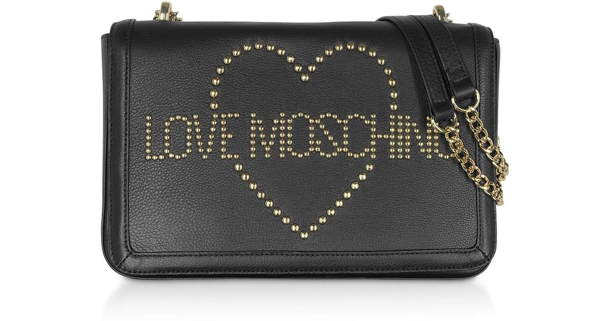 26bf1fbc1a4 Love Moschino Signature Golden Studs Black Leather Shoulder Bag in Black -  Lyst