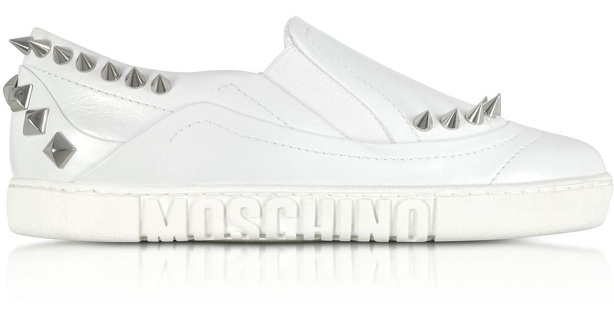 5ceae41fcaad Moschino White Leather Slip On Sneakers W spikes in White - Lyst