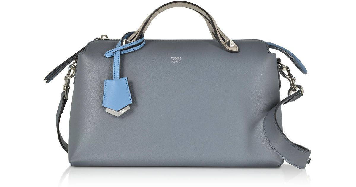 Lyst - Fendi By The Way Regular Tempesta Blue Leather Small Satchel Bag in  Blue