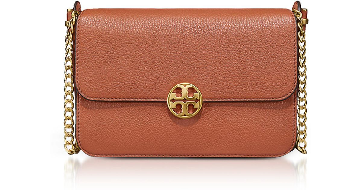 ed522fc83dc54 Lyst - Tory Burch Pebble Leather Chelsea Crossbody Bag in Red