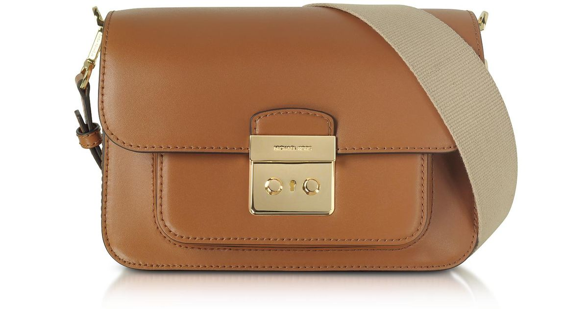4dc7b23014be Michael Kors Sloan Editor Large Acorn Leather Shoulder Bag in Brown - Lyst