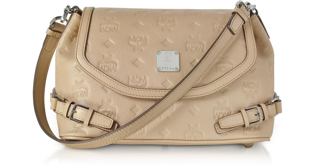 c590dbbf2f1 Lyst - MCM Beige Signature Monogrammed Leather Small Crossbody Bag in  Natural