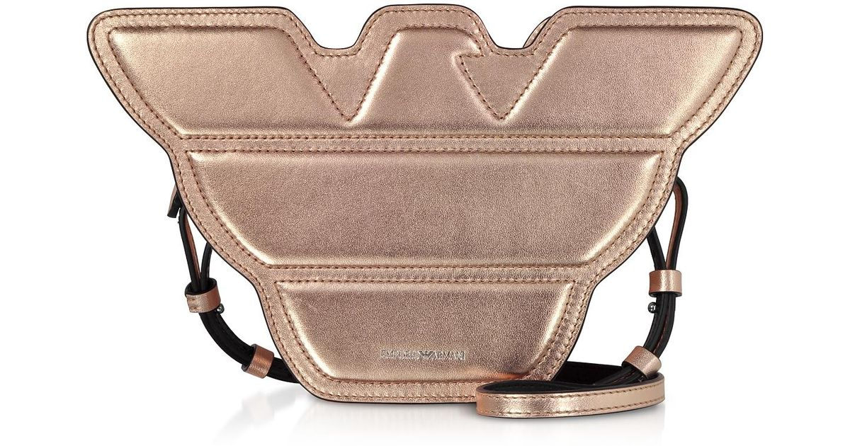 f311237540f6 Emporio Armani Laminated Leather Eagle Shoulder Bag in Pink - Lyst