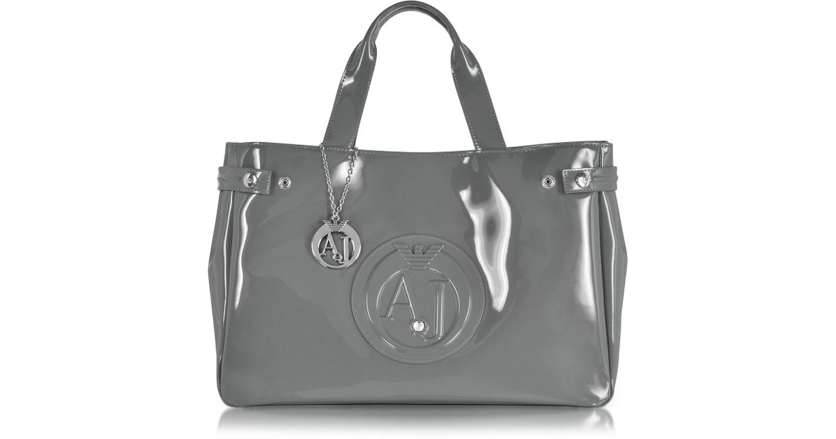 58f858a21533 Armani Jeans Large Gray Faux Patent Leather Tote Bag in Gray - Lyst