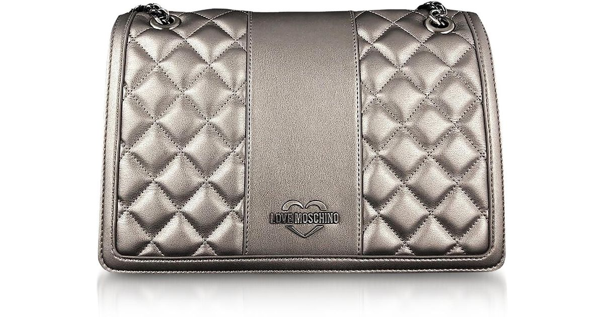 b265659b20 Love Moschino Gunmetal Quilted Eco Leather Shoulder Bag - Lyst