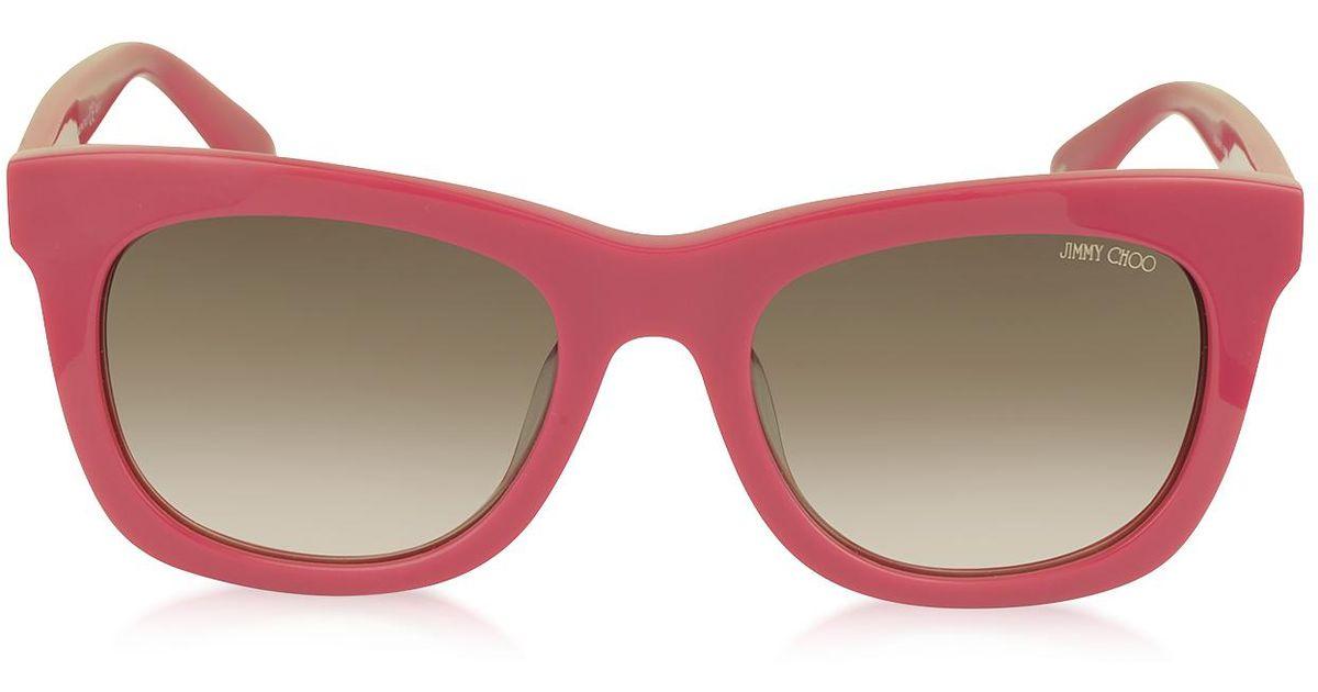 a470635f94d Lyst - Jimmy Choo Sasha s 8v0k8 Fuchsia Acetate Square Frame Sunglasses  With Silver Stars