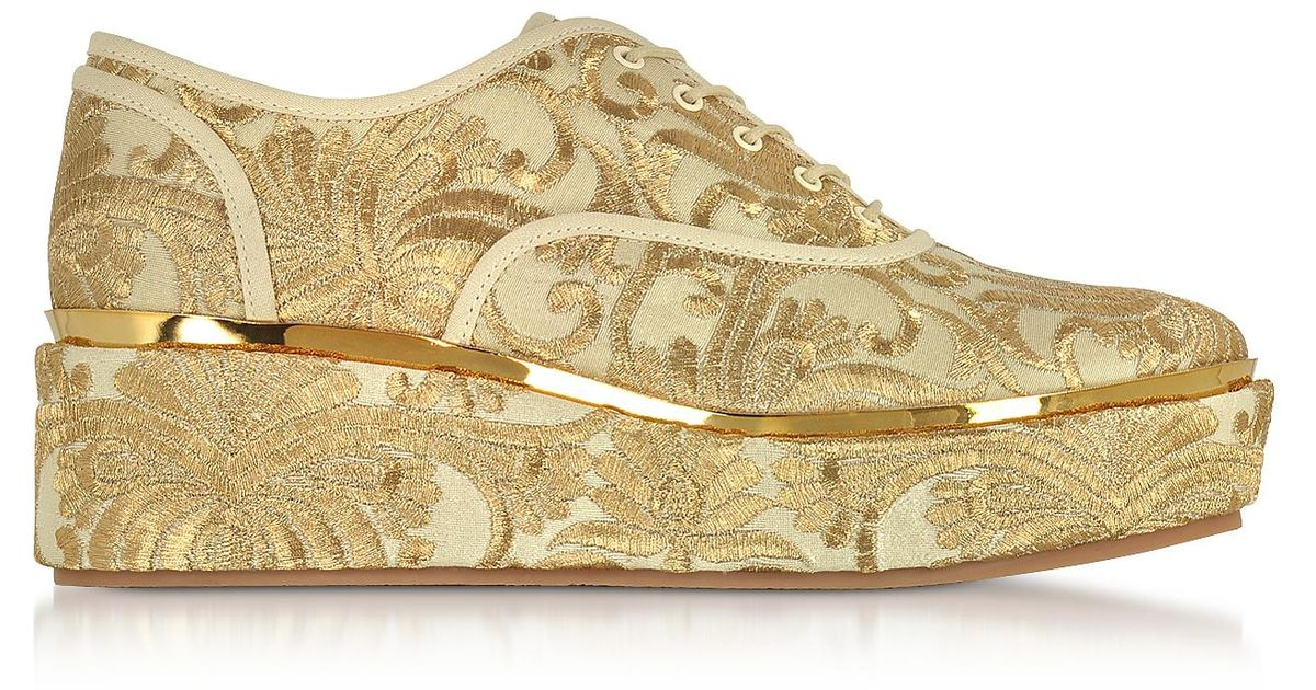 0ecc6da9bcc Lyst - Tory Burch Arden Beige And Gold Embroidered Brocade Platform Oxford  Shoes in Natural