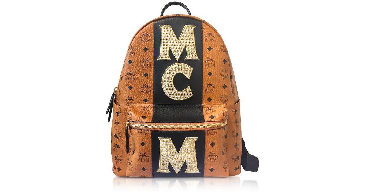 7a64192a1 MCM Cognac Stark Stripe Studded Medium Backpack in Brown - Lyst
