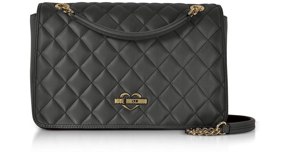 2766cca19462 Lyst - Love Moschino Black Superquilted Eco-leather Shoulder Bag in Black