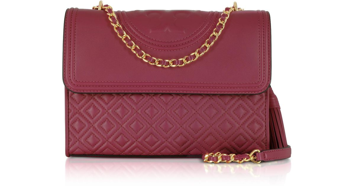 Lyst Tory Burch Fleming Imperial Garnet Leather Convertible Shoulder Bag