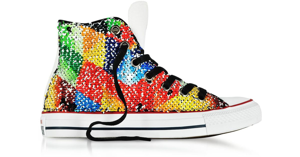 6fe7f4f03eb5 Lyst - Converse Chuck Taylor All Star High Reversible Sequins And Canvas  Women s Sneakers in Yellow