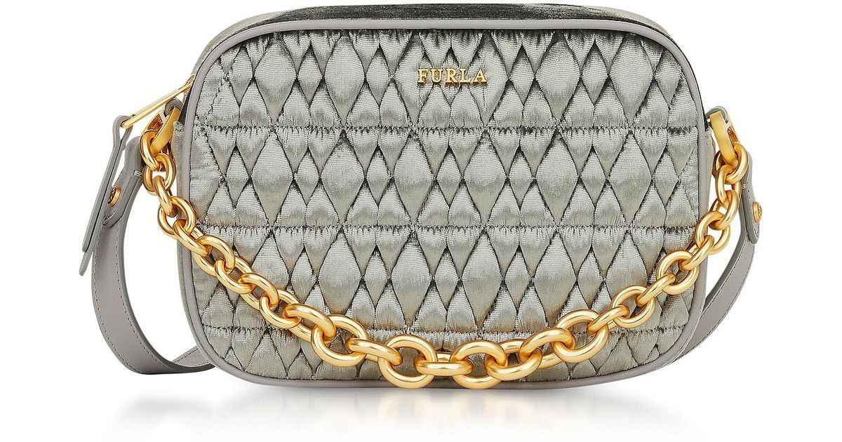 2f12c098ccc9b9 Furla Grey Velvet Shoulder Bag in Gray - Save 13% - Lyst