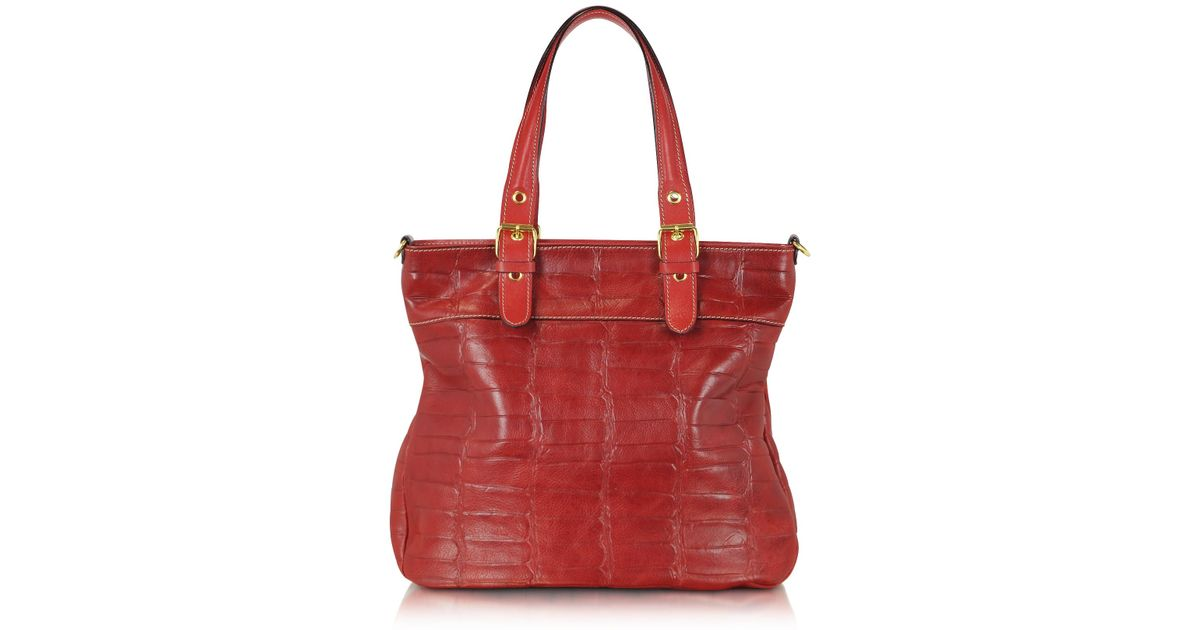 36837dd33320 Robe Di Firenze Red Croco Stamped Italian Leather Tote in Red - Lyst