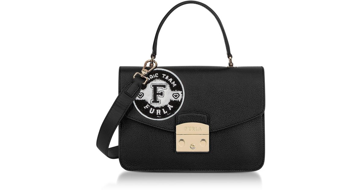 c70a358089 Lyst - Furla Onyx And Petalo Leather Metropolis Post Small Top Handle Bag  in Black