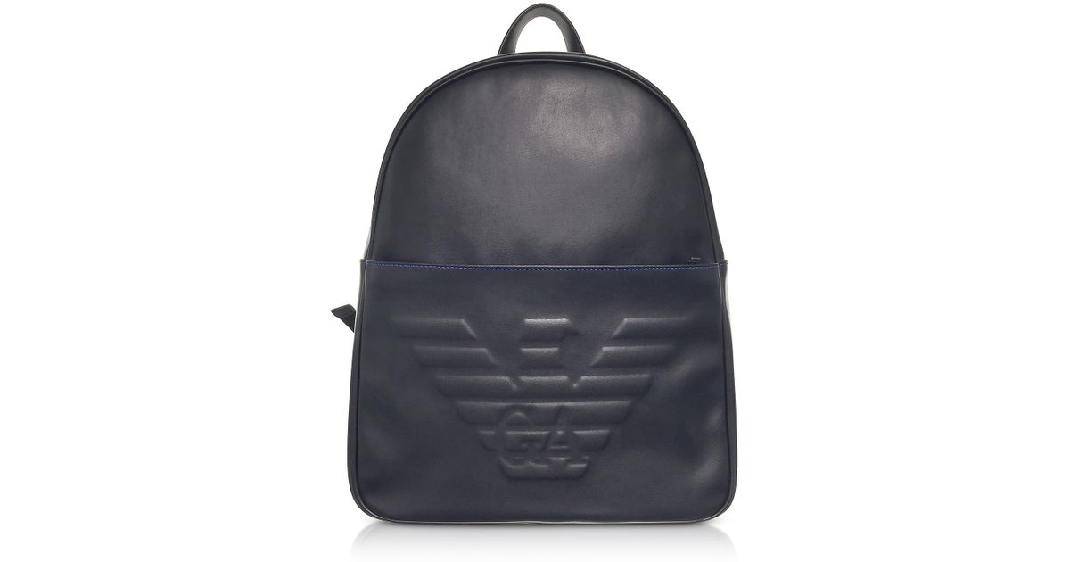 964bc5e63e9b Emporio Armani Black Eagle Embossed Eco Leather Men s Backpack in Black for  Men - Lyst