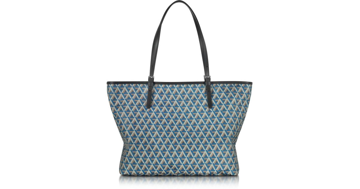 dcf302d988c4 Lyst - Lancaster Paris Ikon Printed Coated Canvas And Leather Tote in Blue