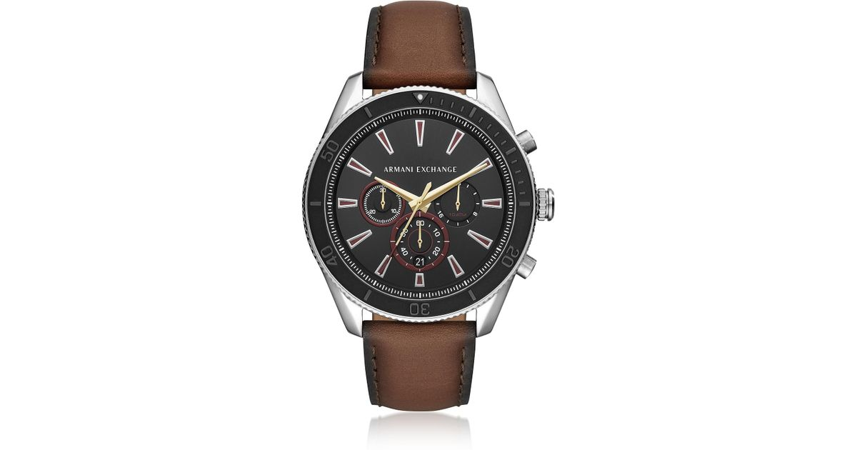f5486634998d Emporio Armani Enzo Silver Tone And Burnished Leather Chronograph Men s  Watch in Metallic for Men - Lyst
