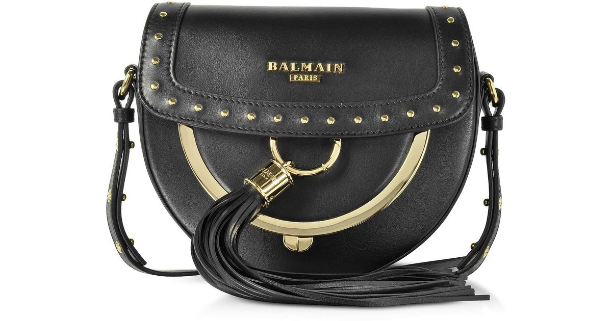 Lyst Balmain Domaine 18 Glove Black Leather Crossbody Bag W Pompon And Studs In