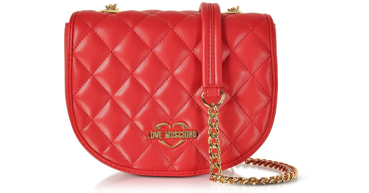 422de687829 Love Moschino Red Superquilted Eco-leather Small Crossbody Bag in Red - Lyst