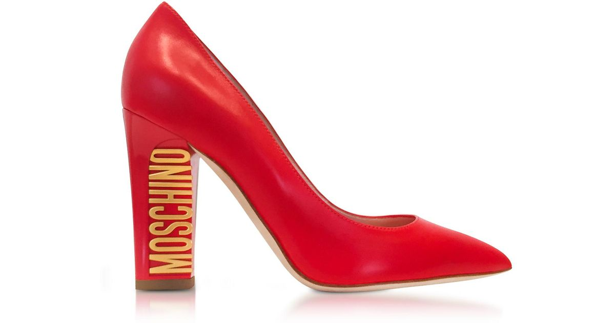 949dd1170e Moschino Women's Red Leather Pumps in Red - Lyst