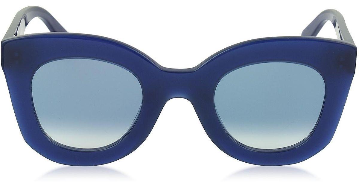 97de40dd450 Lyst - Céline Marta Cl 41093 s Acetate Cat Eye Women s Sunglasses in Blue