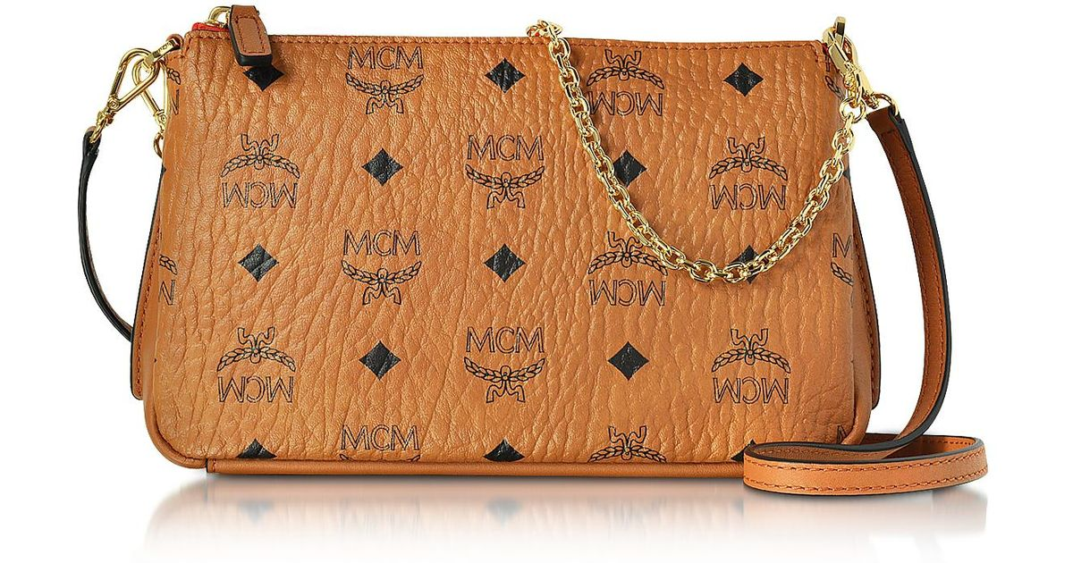 7a72e6af8 MCM Millie Visetos Cognac Medium Zip Crossbody Bag in Brown - Lyst