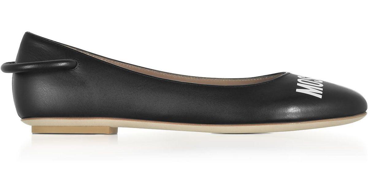 a4aa6fb3f300 Lyst - Moschino Black Nappa Leather Signature Ballerina in Black