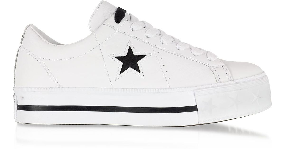554a6d69b25c Lyst - Converse One Star Platform Ox White Leather Low Top Sneakers in White